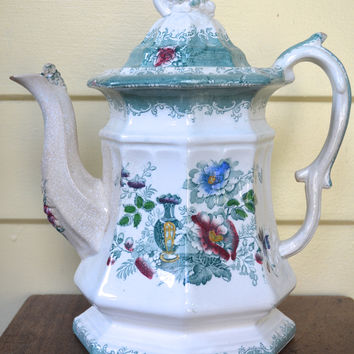 Antique Staffordshire Teal Transferware Tea Pot Teapot Edward Challinor Amula  Green / Turquoise 19th Century Polychrome Transferware