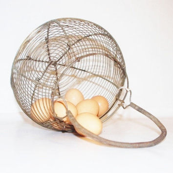 Antique French Wire Egg Basket by BargeCanalMarket on Etsy