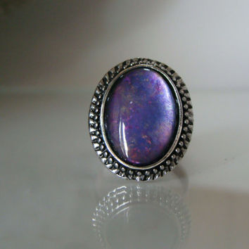 Purple statement ring Purple handpainted glass art jewelry Large oval purple ring set in antique silver metal bezel Adjustable purple ring