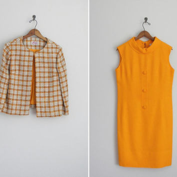 vintage 1960s mod dress set . 60s Carlye shift dress. Marmalade Plaid