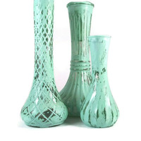 Mint Shabby Chic Vase Set Wedding Vases Baby Nursery Decor On Sale