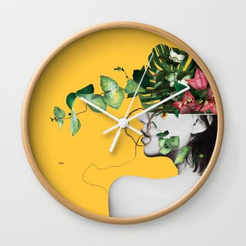 Lady Flowers Wall Clock by linco7n