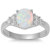 Lab Created White Australian Opal & White Cz Ring Size 5