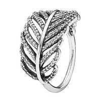 Pandora Light as a Feather Ring in 925 Sterling Silver with Clear Cubic Zirconia, 190886CZ-56