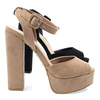 Tournament04M By Bamboo, Women's Chunky Block Heel Platform Sandal w Peep Toe