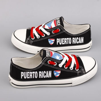 Puerto Rican Flag Pride Low Top Canvas Shoes Custom Printed Sneakers