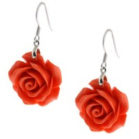20MM 925 Sterling Silver Simulated Red Coral Carved Rose Flower Earrings