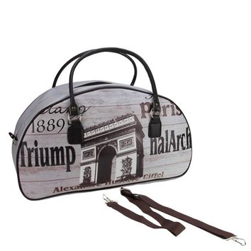 "20"" Vintage-Style Paris Arc de Triomphe French Theme Travel Bag with Handles and Shoulder Strap"