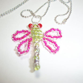 Sterling silver Glass Dragon Fly Necklaces by moonknightjewels