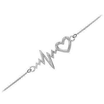 Dainty 925 Sterling Silver Heartbeat Bracelet 75quot Adjustable to 8quot