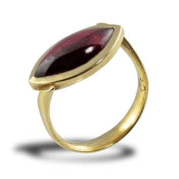Marquis Gold Ring, Garnet Gold Ring, Statement Ring, Gemstone, Red Stone, Handmade Engagement, Fine Jewelry, alternative,