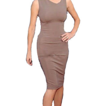 Light Brown Sleeveless Bodycon Midi Dress