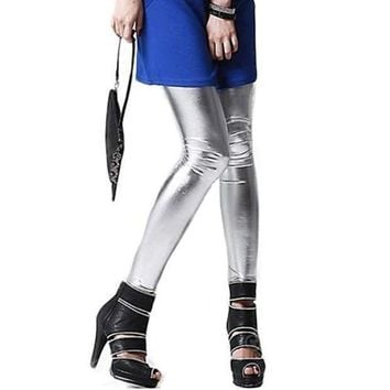 PEAPNF Girls Metallic Colorful Shiny Sparkle Spandex Faux Leather Summer Leggings
