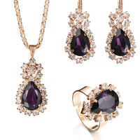 Casual Retro Rhinestone Faux Crystal Necklace Ring And Earring