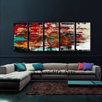 Original Set of 5 Abstract painting by Nandita -  Modern Art for sale 60x24 multicolored fine art on canvas, Original Artwork fast shipping.