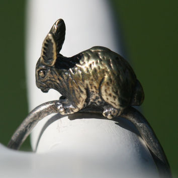 Bunny Rabbit Ring,  Fine n Sterling Silver Rabbit Ring, Size 8 Ring, Oxidized Bunny Ring, Bunny Rabbit Ring by Maggie McMane Designs
