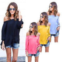 princess new WOMEN OFF THE SHOULDER TOP Long Sleeve Solid Summer Bohemian