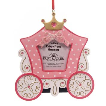 Personalized Ornament PRINCESS CARRIAGE PHOTO FRAME Polyresin Pink Royal C6542