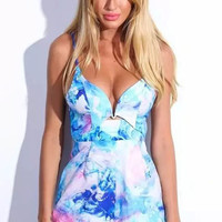 Light Blue Strappy Backless Playsuits