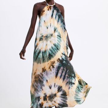 2019 Sexy Women Hang Neck Tie Dyed Printed Dress Long Halter Satin Strap Dress A7-22541