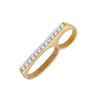Stud crystal 3 finger ring in gold or silver | Byrogue Designs
