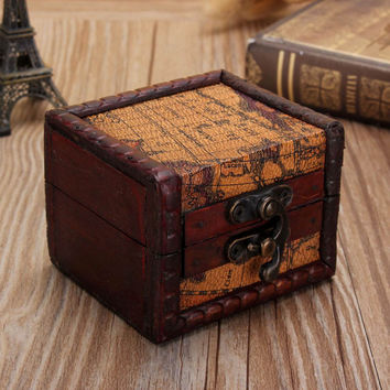 Vintage Mini Wooden Lock Jewelry Holder Storage Box Necklace Bracelet Earring Gift Box