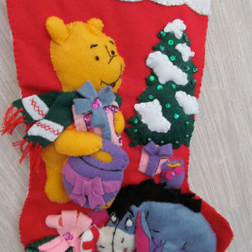 Pooh and Eeyore Completed Handmade Felt Christmas Stocking from Janlynn Kit
