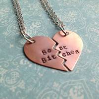 Best Bitches Heart Necklace Set- Hand Stamped Brass or Copper- Choose Your Chain and Metal