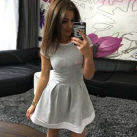 Women's Dress Patchwork O-Neck dresses Mini