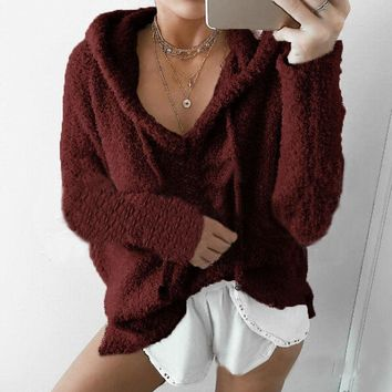 Women Hooded V Neck Long Sleeve Faux Fur Tops Pullover Hoodies Jumper Sweater