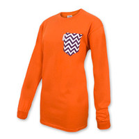 Clemson Tigers Ladies Pocket Long Sleeve Shirt - Free Embroidery - Orange