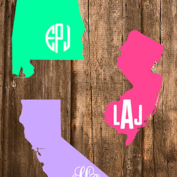 "FREE SHIPPING! - 6"" State Outline Car Decal Monogram - Font Choices Available!"