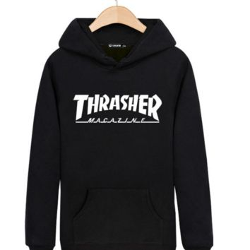 """Thrasher"" Printed Unisex Trendy Pullovers Sweaters Hoodies In Plus Size Great Gifts"