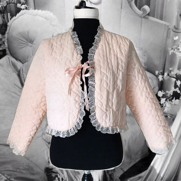 Vintage Quilted Bed Jacket Pink Nylon with White Lace Trim Made for Avon Crop Jacket