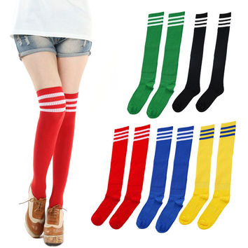 Moodeosa 1 Pair THIGH HIGH SOCKS Over Knee Girls Womens Cheerleader Freeshipping Free Shipping