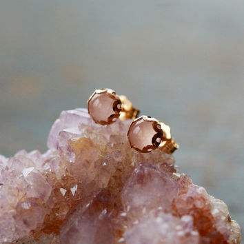 Ballerina Stud Earrings Rose Quartz Gemstone by ShopClementine
