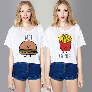 Crop Tops  O Neck Best Friends Forever Printed Tee Shirts