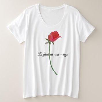 La fleur de rose rouge Plus Size Woman TShirt