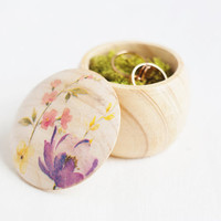 "Tiny vintage style wooden box ""Шildflowers"" - Wedding box, ring bearer box, jewelry box, flowers, floral, natural, ecofriendly"