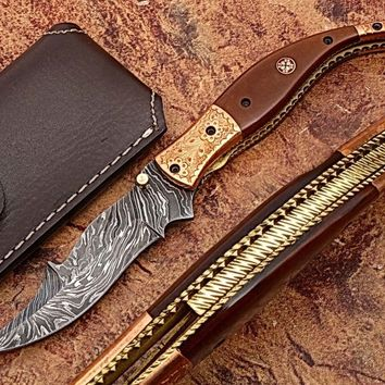Executive Series MAGNUM COMBLOCK Damascus Folding Knife Bakelite Solid Copper ENGRAVED Bolstered