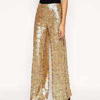 Gold Sequined Metallic Wide Leg Pants