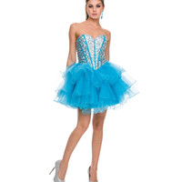 Turquoise Tulle Short Prom Dress 2015 Homecoming Dresses
