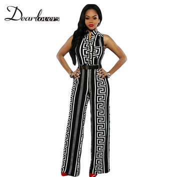 Dear lover Stylish Long Jumpsuits For Women Black Romper Print Gold Belted Summer Overalls Combination Sexy Playsuits 2017