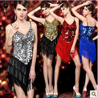 New arrival adult Latin dance skirt costume tassel paillette dance clothes sexy spaghetti strap low-cut ds costumes