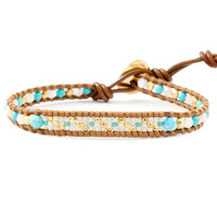 Turquoise Mix Bead Single Wrap Bracelet on Henna Leather - Chan Luu