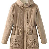 LD Womens Cashmere Lined Drawstring Solid Warm Cotton Coat Jacket Overcoat