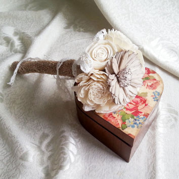 Flowergirl wand cream rustic wedding Ivory Flowers,  burlap cotton lace handle, Flower girl, Bridesmaids, sola roses vintage custom