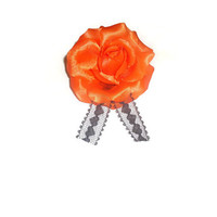 Orange Flower Hair Clip Brooch Accessory
