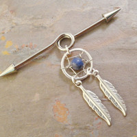 Sodalite Dream Catcher Industrial Barbell by MidnightsMojo on Etsy