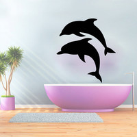 Wall Decals Dolphin Decal Vinyl Sticker Bathroom Window Nursery Children Bedroom Hall Home Decor Dorm Interior Art Murals MN525